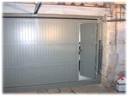 cedar garage door with wicket viewed from inside