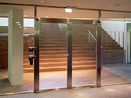 fireproof glass door steel frame double doors embeddable in the glass wall