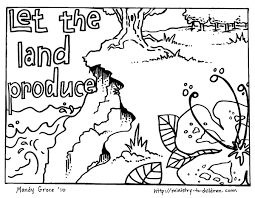 open and print this coloring page 11then said let the land produce vegetation seed bearing plants and trees on the land that bear fruit