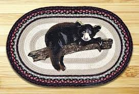 black and white wool braided rug baby bear oval