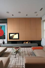 modern fireplace design ideas set in contemprary storage space