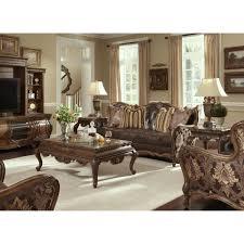 aico michael amini lavelle melange leather fabric wood trim tufted sofa living room set