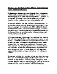 romeo and juliet are victims of fate how far do you agree  page 1 zoom in