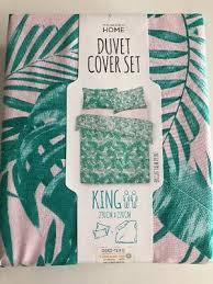primark pink green palm print king size