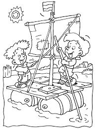 Kleurplaat Kinderen Op Een Zelfgemaakt Vlot Kleurplatennl