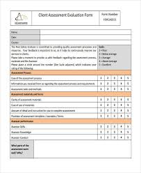Evaluation Form Template Client Assessment Form Template Rome Fontanacountryinn Com