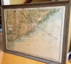 Charleston Nautical Chart Framed Charleston Coastal Charts Furniture Store Augusta