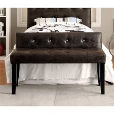 furniture of america brannon faux leather bedroom bench in dark brown idf bn6795br s