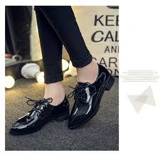 black women s oxfords patent leather lace up heels vintage shoes image