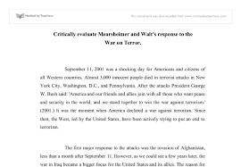 critically evaluate mearsheimer and walt s response to the war on document image preview