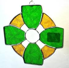 glass suncatchers green and yellow cross with nimbus ring art glass free stained glass suncatcher patterns