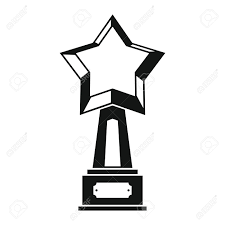Gold Award With Star In Black Simple Silhouette Style Icons Vector
