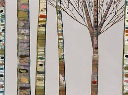Birch Tree Branches on Light Grey - Gicle Print