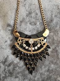 black gold large pendant necklace evening costume jewellery ref j3