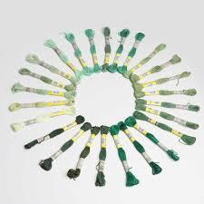 Green Series Dmc Colors 8m X 12pcs High Sheen 100 Cotton