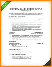 Club Security Officer Sample Resume Custom Resume For Security Guard Resume Examples And Samples Security