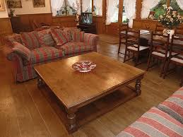 large square oak pot board coffee table