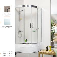 deluxe oval shower door 31 1 2 80 3 4 31 1 2 2 fixed 2 sliding panel patterned tempered glass satina