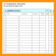 Attendance Maker Attendance Card Template Class Record Form S School Employee