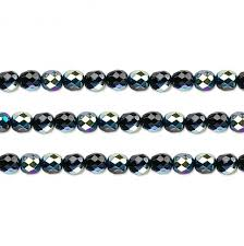 czech faceted round fire polished glass beads preciosa jet ab 4mm 16 inch strand