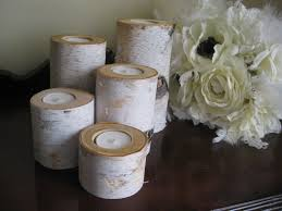 ... Attractive Accessories For Table Centerpiece Decoration With Birch Bark  Candle Holders : Beauteous Image Of Accessories ...