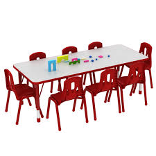 school rectangle table. Thrifty Rectangular Table \u2013 8 Seater Red, Blue Or Yellow School Rectangle