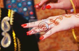 Fototapeta Ruce A Prsty Jsou Přitahovány K Henné ženská Ruka S Hennou Tetování