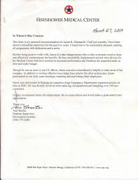 Personal Recomendation Letter Awesome Eisenhower Medical Center Letter Of Recommendation For James Muzzarel
