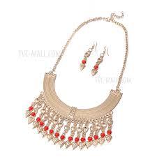 fss020 fashion jewelry set antique gold tassel pendant necklace earrings tvc mall com