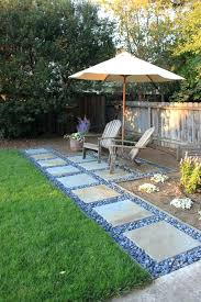 amazing concrete paver patio or interesting small backyard with chair and umbrella plus stone walkway patio good concrete paver patio
