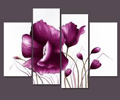 com wieco art large purple plum flowers modern wrapped artwork giclee canvas prints 4 piece fl picture paintings on canvas wall art decor for