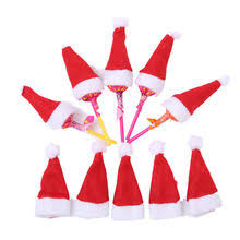 30pcs hot mini hat christmas xmas holiday lollipop top topper cover for festival christmas decoration for home