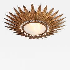 Starburst Flush Mount Light Gilded Bronze Starburst Flush Mount Light Fixture