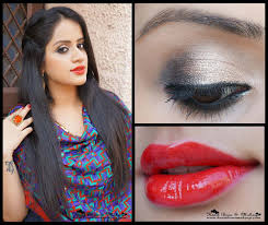 indian wedding party tutorial gold smokey eyes bright red lips full face makeup steps