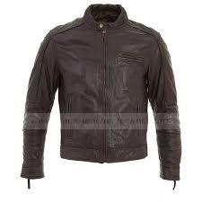 mens classic vintage brown leather biker jacket