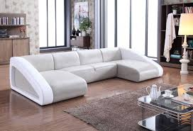 divani casa pratt modern grey white leather sectional sofa