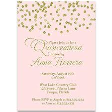 Quincenera Invitations Party Invitations Confetti Quinceañera Invitation Blush Pink Gold Girl Birthday Quinceanera Invite