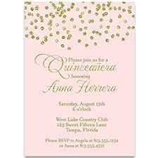 Invitations Quinceanera Party Invitations Confetti Quinceañera Invitation Blush Pink Gold Girl Birthday Quinceanera Invite