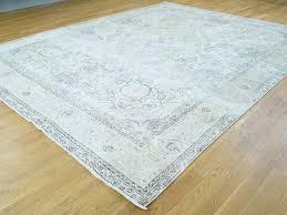 handmade white wash tabriz zero pile shaved thin oriental rug