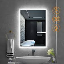 Wall Mirror With Lights Quavikey 500 X 700mm Led Illuminated Aluminum Bathroom Mirror With Lights And Demister