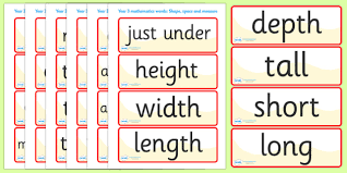 vocab cards with pictures shape space measure vocabulary cards year 3 shape space measure
