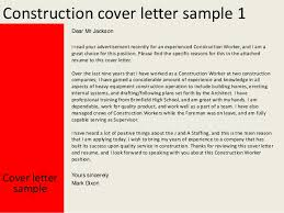 Sample Construction Cover Letters Construction Cover Letter