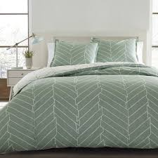 city scene ceres green and white chevron cotton 3 piece duvet cover set