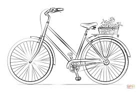 Small Picture Bicycle with flower basket coloring page Free Printable Coloring
