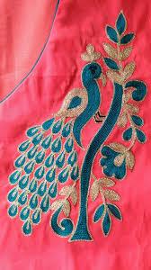 Job Description Embroidery Designer Pin By Arunakumari On Maggam Work Blouses In 2020 Peacock
