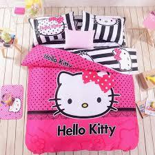 black white o kitty hot pink polka dot duvet cover bedding