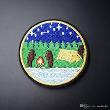 2018 cartoon camping mend embroidery patches sew iron applique concept of diy embroidered patches