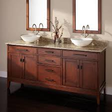 madison double vessel sink vanity tobacco  bathroom