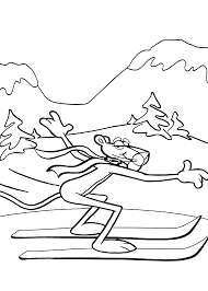 Pink Panther Skiing Coloring Pages For