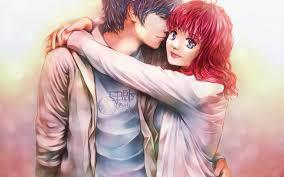 3d anime hug couple hd wallpapers